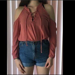 Tops - Pink Peekaboo Shoulder Laceup Shirt